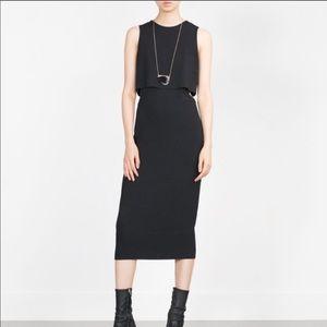 Zara Black Midi Layered Dress with Side Cut Outs M
